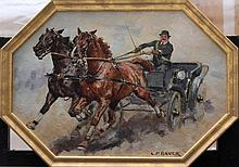 Carl Ferdinand Bauer (1879-1954), Speedy coach drive; oil on cardboard, sig