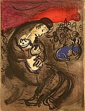 Marc Chagall(1887-1985)-Graphic on Paper, Father with Child, on the reverse