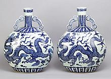 a Pair of Chinese Large Porcelain Flasks in Wan Li Manner,  with  thin neck