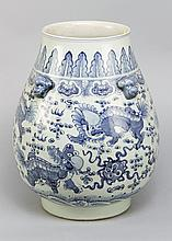 Wide Chinese Porcelain Vase in Ming style with blue painted Lions decoratio