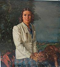 Albert Janesch (1889-1973), Portrait of a woman with her dog in landscape,
