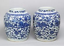 Pair of Chinese porcelain vases, in Wang Li style, painted in blue with ani