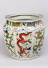 Large Chinese porcelain pot in octagonal round form with multicoloured drag