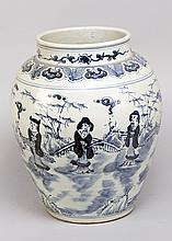 Chinese  Porcelain Vase with short neck  blue  decorative  paint with peopl