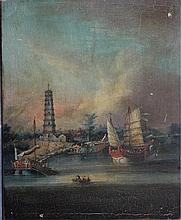 George Chinnery (Januar 1774-1852)-attributed, Chinese landscape with junk,