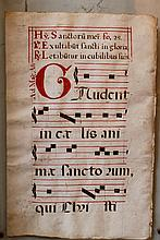 Antiphonary page in red and black colours on parchment, described in Latin