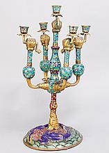 Chinese Cloisone Candelabra  on round base  with central collumn ending in