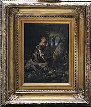 German School mid 19th Century, Two girls in landscape, oil on oak panel, f