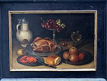 Clara Peeters (1594-1658)-attributed, Still life with fruits, bread, chicke