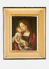 Jan Gossaert Mabuse (1478-1532)-circle, Maria with Child holding apple in f