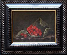 Adriaen Coorte (1665-1707)-follower, Still life with strawberries and a lea