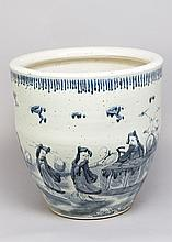 Large Chinese porcelain jardiniere in Ming manner, in blue and white colour