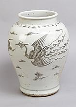Chinese Porcelain  Vase in Ming Style with black painted birds and clouds o