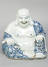 Chinese Porcelain smiling Budha in sitting position with blue decorated and