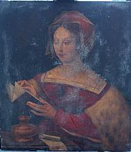 Master of the Female Half-Length-manner of, Portrait of a lady holing an bo