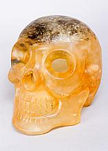 Large Skull Head naturalistic carving of Rock Crystal or Crystal, yellow gr