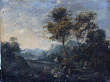 Lucas Achtschellinck (1626-1699)-circle, Landscape with travellers by a riv