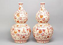Pair of Chinese  Large Pumpkin Porcelain Vases in Qianlong manner with  thi