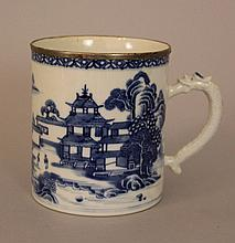 Chinese Porcelain blue and white tankard with porcelain handgrip in form of