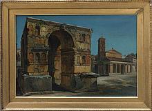 Carl Eduard Ferdinand Blechen (1798-1840)-attributed, The Janus arch in Rom