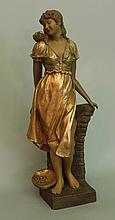 Goldscheider sculpture of a young girl with pigeon