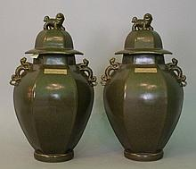 Pair of Chinese porcelain or ceramic vases, with d