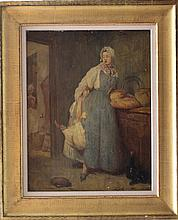 French School 19th Century, The kitchen maid, oil