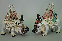 Pair of porcelain figures of a king and a queen on