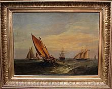 Dutch school mid  19th century, Seascape with boat