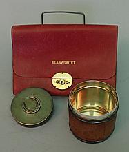 Hermes Paris around 1970, round box with leather m