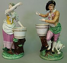 Pair of large Vienna porcelain figures of gardener