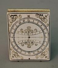 Ivory sundial with top to be opened and floral eng