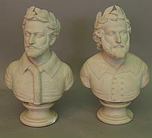 Pair of Italian marble busts Torquato Tasso (1544-
