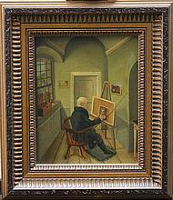 German romantic artist in his atelier, oil on pape