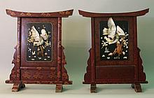 Pair of Japanese Meiji paravents with carved mothe