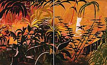 CHARLES BLACKMAN born 1928, RED GARDEN, c1970, synthetic polymer paint on canvas (diptych)