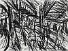 LEON KOSSOFF born 1926, British, OUTSIDE KILBURN UNDERGROUND NO.4, c1979, charcoal on paper