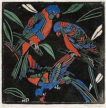 MARGARET PRESTON 1875 - 1963, LORIKEETS, 1925, hand-coloured woodcut