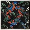 MARGARET PRESTON 1875 - 1963, LORIKEETS, 1925, hand-coloured woodcut