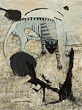 CLIFTON PUGH 1924 - 1990, A FERAL CAT, 1969, oil on composition board