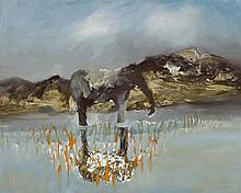 SIDNEY NOLAN 1917 - 1992, ELEPHANT IN LANDSCAPE, 1962, oil and Ripolin enamel on composition board