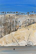 ARTHUR BOYD 1920 - 1999, SHOALHAVEN - HILLSIDE WITH BUSHFIRE, oil on composition board