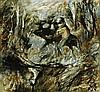ARTHUR BOYD 1920 - 1999, FIGURE WITH BEAST, c1962-64, glazed ceramic tile