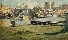VIDA LAHEY 1882 - 1968, CUSTOMS HOUSE AND ST JOHN'S CATHEDRAL, BRISBANE, FROM KANGAROO POINT, c1924-26, oil on canvas on board