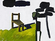 KEN WHISSON born 1927, GREEN MAN, TREE AND CHAIR, 1974, oil and enamel on composition board