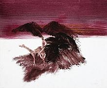SIDNEY NOLAN 1917 - 1992, BURKE AND CAMEL, 1963, oil and wax crayon on paper