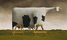 JOHN KELLY born 1965, 1/2 PAINTED COW ON TRESTLES, 1994, oil on linen