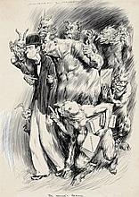 NORMAN LINDSAY 1879 - 1969, THE WOWSER'S RETINUE, 1932, pen and ink on paper