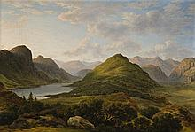 JOHN GLOVER 1767 - 1849, LEATHE'S WATER, SKIDDAW AND SADDLEBACK IN DISTANCE, c1816-17, oil on canvas
