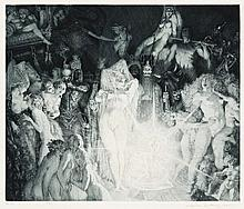 NORMAN LINDSAY 1879 - 1969, ENTER THE MAGICIANS, 1927, etching, engraving, aquatint, soft ground and stipple